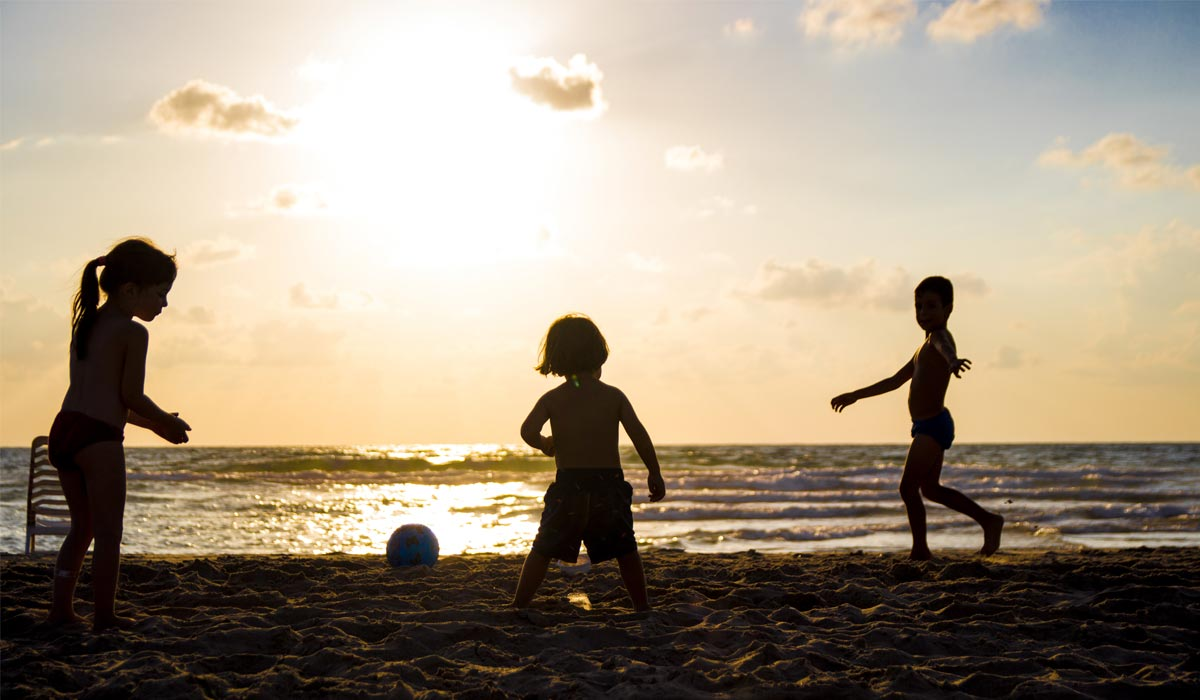 Children playing in beach